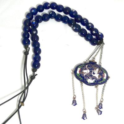 C1959 Antique Japanese incense holder, Tsary Edding symbol, blue lamp work glass necklace