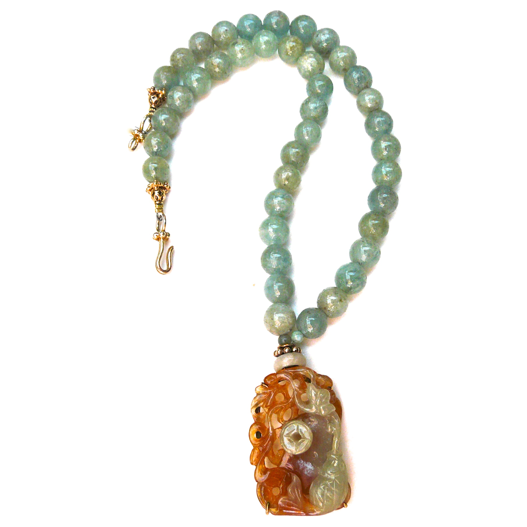 C2032 a Jade Fish, Lotus, Pi, Aquamarine Necklace
