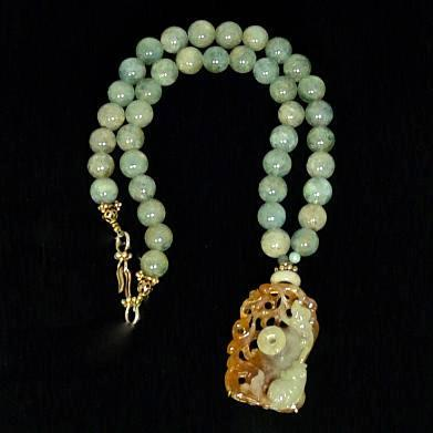 C2032 e Jade Fish, Lotus, Pi, Aquamarine Necklace