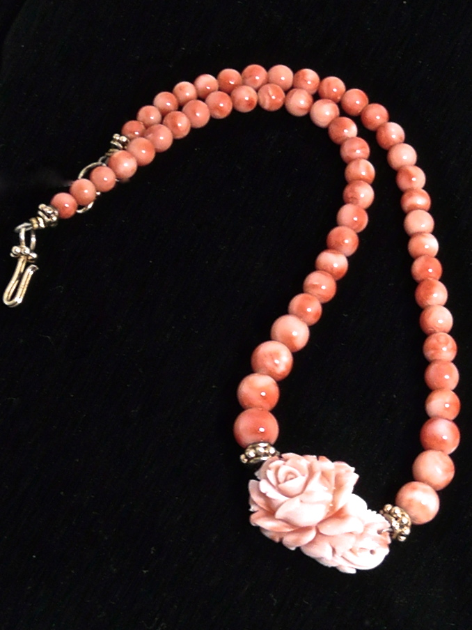 C2153 Carved Coral Flower, Coral Necklace