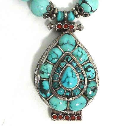 C2236 2 Indian silver and tuquoise gau box. natural Chinese turquoise necklace