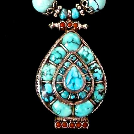 C2236 5 Indian silver and tuquoise gau box. natural Chinese turquoise necklace