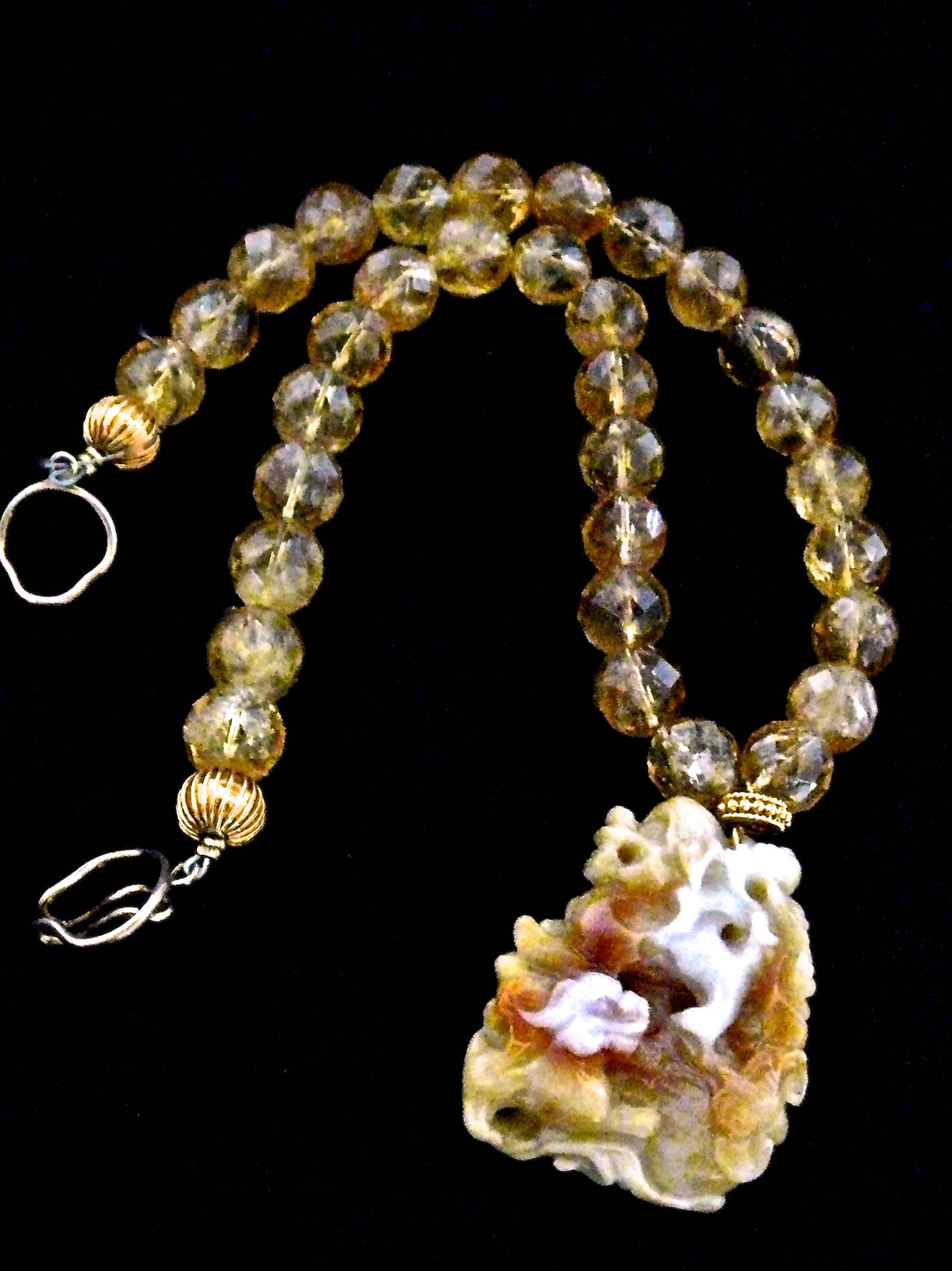 C2633-8 golden jade fo dogs, faceted citrine necklace