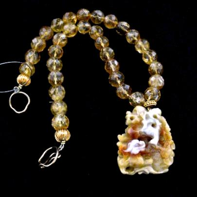 C2633 -4 golden jade fo dogs, faceted citrine necklace