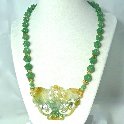 C2747 carved green and golden jade butterfly, carved aventurine bead necklace