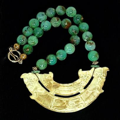 C2982  3 Old Jade Double Dragon, double phoenix, Chrysophase Necklace