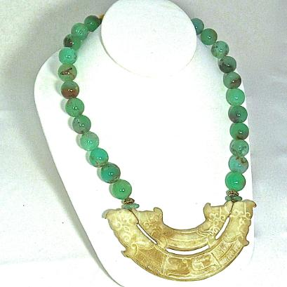 C2982  4 Old Jade Double Dragon, double phoenix, Chrysophase Necklace