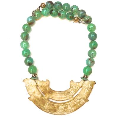 C2982  1 Old Jade Double Dragon, double phoenix, Chrysophase Necklace