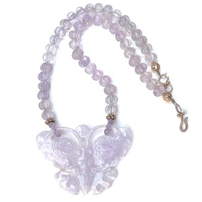 C3186 1 lavender jade butterfly, cape amethyst melon necklace