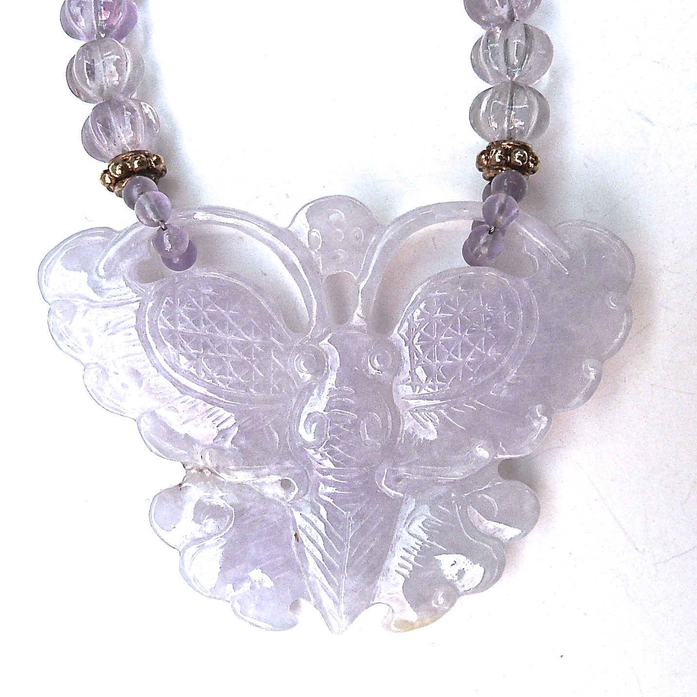 C3186 2 lavender jade butterfly, cape amethyst melon necklace