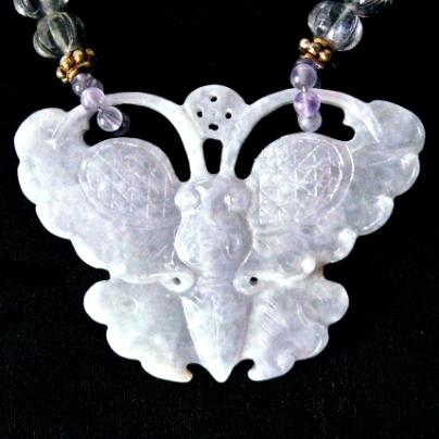 C3186 3 lavender jade butterfly, cape amethyst melon necklace