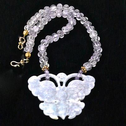 C3186 4 lavender jade butterfly, cape amethyst melon necklace