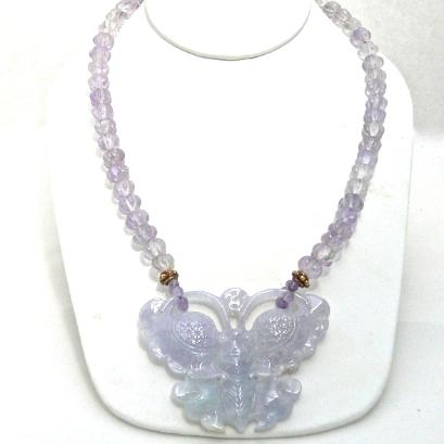 C3186 5 lavender jade butterfly, cape amethyst melon necklace