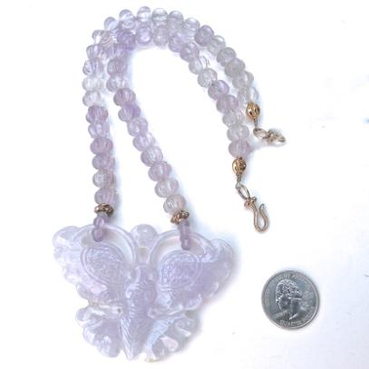 C3186 6 lavender jade butterfly, cape amethyst melon necklace