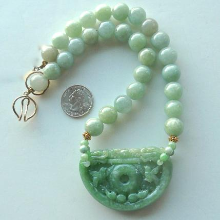 C3351- 7 - green jade double dragon lock, jade