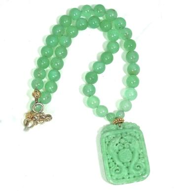 C3512 1 green jade dragons chrysoprase necklace
