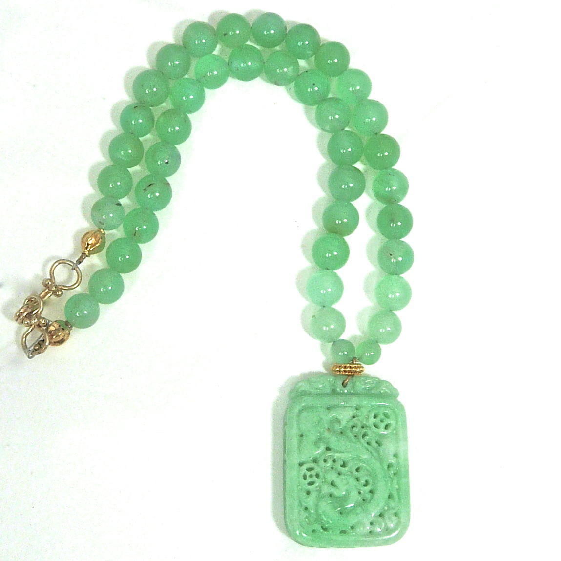 C3512 3 green jade dragons chrysoprase necklace