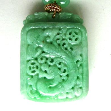 C3512 4 green jade dragons chrysoprase necklace