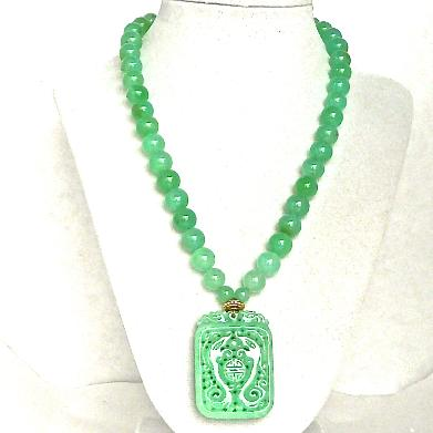 C3512 5 green jade dragons chrysoprase necklace