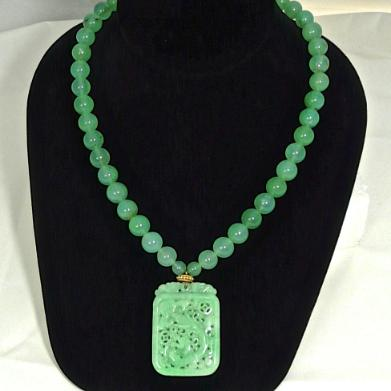 C3512 6 green jade dragons chrysoprase necklace