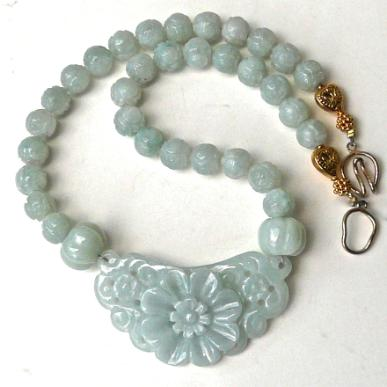 c3841a 1 jade flower, carved jade necklace
