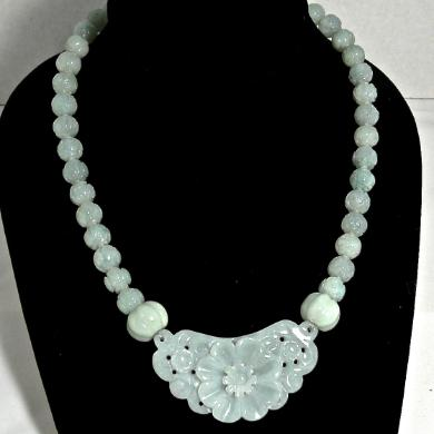 C3841 2 jade flower, carved jade necklace