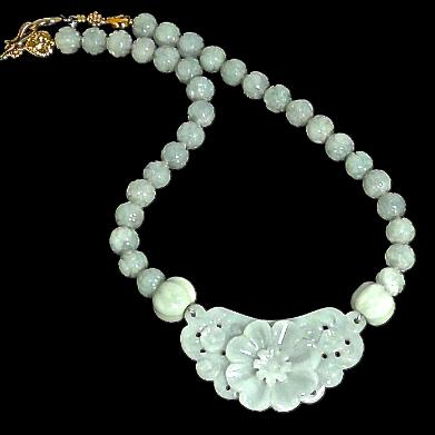 C3841 4 jade flower, carved jade necklace