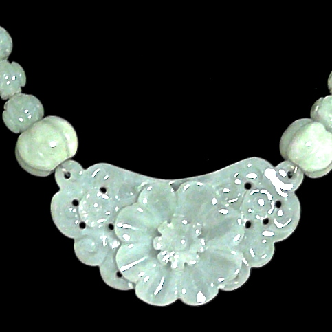 C3841 5 jade flower, carved jade necklace