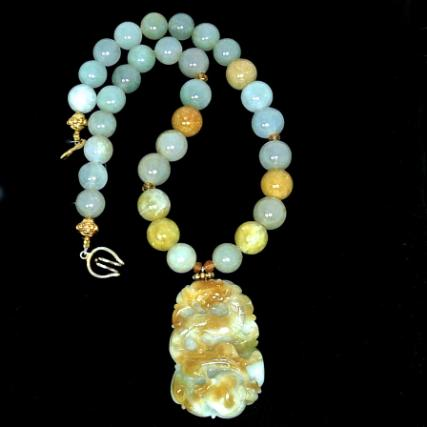 C3871 -5  jade dragon, jade necklace
