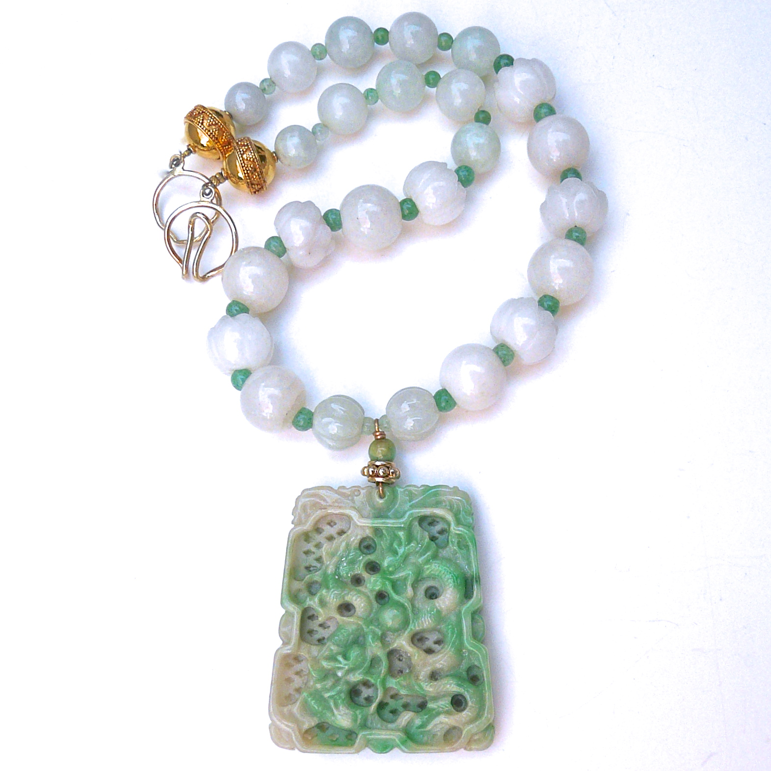 C3880  1 jade dragon, lotus, jade necklace