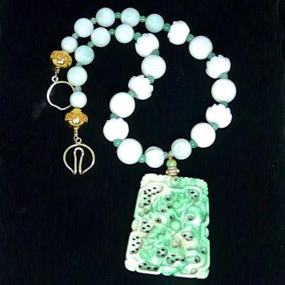 C3880  4 jade dragon, lotus, jade necklace