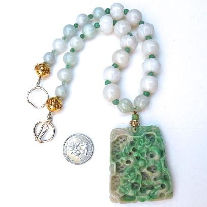 C3880  5 jade dragon, lotus, jade necklace