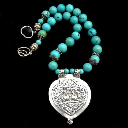 C850 5 Antique Indian silver double peacock pendant, natural Chinese turquoise necklace