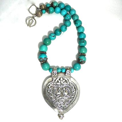 C850 1 Antique Indian silver double peacock pendant, natural Chinese turquoise necklace