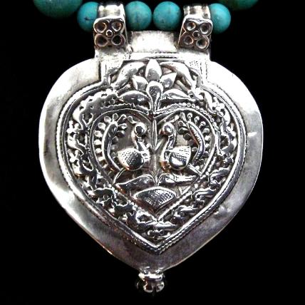 C850 7 Antique Indian silver double peacock pendant, natural Chinese turquoise necklace