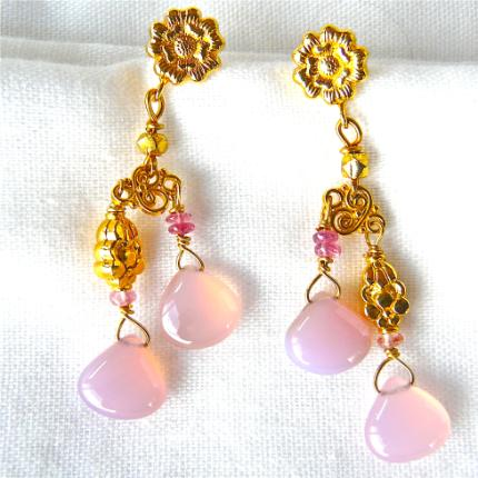 CE4805 2 -Pink Chalcedony Drop Earrings