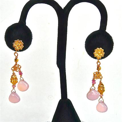 CE48051 -Pink Chalcedony Drop Earrings