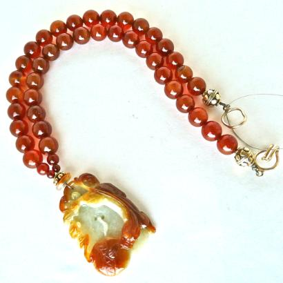 C2337 carved red jade dragon, carnelian necklace
