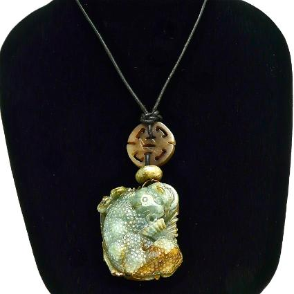 C3308 -5 green jade three-legged toad pendant necklace