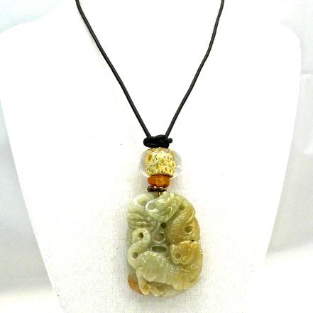 C3934 -5 carved green jade dragon, tiger and fox pendant necklace