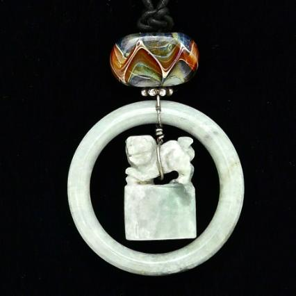 C3535- 1 green jade fo dog chop, bracelet pendant necklace