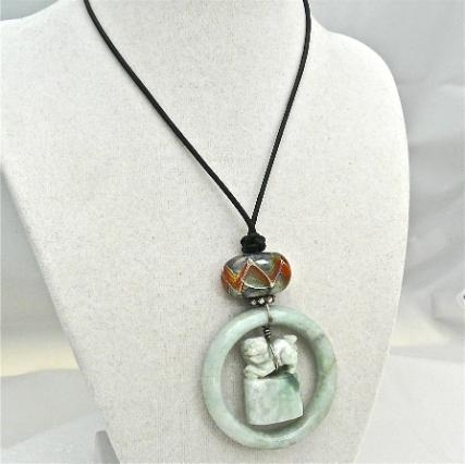 C3535- 3 green jade fo dog chop, bracelet pendant necklace