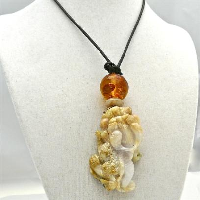 C3387 3 golden jade dragon, amber pendant necklace