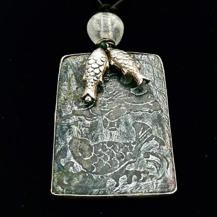 C3969 4 dark green etched jade fish, silver fish pendant necklace