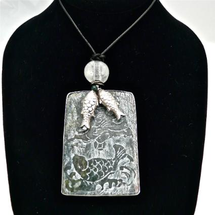 C3969 5 dark green etched jade fish, silver fish pendant necklace