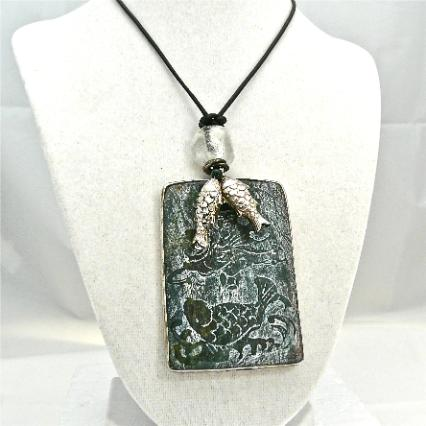 C3969 6 dark green etched jade fish, silver fish pendant necklace