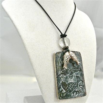 C3969 2 dark green etched jade fish, silver fish pendant necklace