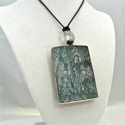 C3969 3 dark green etched jade fish, silver fish pendant necklace