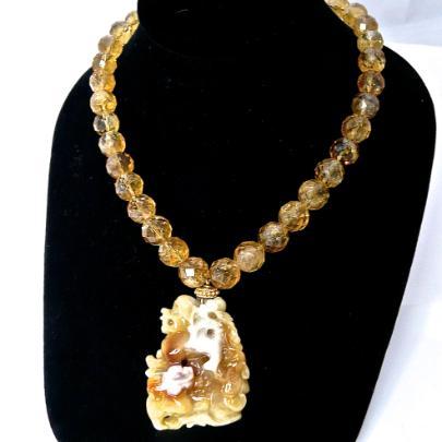C2633 -5 golden jade fo dogs, faceted citrine necklace