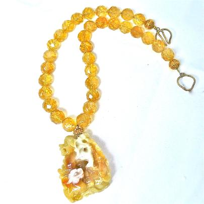 C2633 -1 golden jade fo dogs, faceted citrine necklace